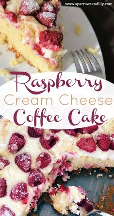 This Raspberry Cream Cheese Coffee Cake is the perfect dessert to go with a hot cup of coffee or to take to a brunch with your favorite girls. Tangy raspberries, silky cream cheese and a delicious yellow cake come together to make the perfect treat!