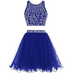 Tideclothes Short Beading Prom Dress Two Pieces Tulle Evening Dress ($68) ❤ liked on Polyvore featuring dresses, blue cocktail dress, prom dresses, two-piece cocktail dresses, two piece prom dresses and 2 piece dress