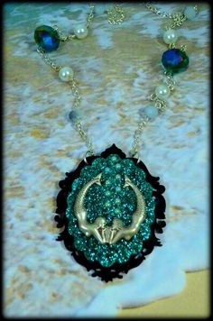 SISTERS Of The SEA- MERMAID Aqua Glitter Black Silver Beaded Cameo necklace