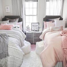 Twin/Twin XL Powered Headboard Dormify - March 13 2019 at Girls Bedroom, Twin Girl Bedrooms, Sister Bedroom, Cozy Bedroom, Girl Room, Bedroom Decor, Twin Bedroom Ideas, Twin Room, Modern Bedroom