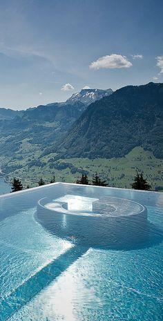 cool pool: edgeless endless pool on mtn view! 5-star Villa Honegg Luxury Hotel, on mount Bürgenstock, Lake Lucerne, Switzerland, 914m ask, historic building, 23 boutique rooms (via ArchitectureArtDesigns.com)