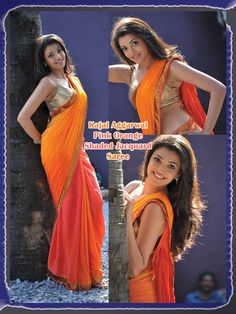 Buy Kajal Agarwal Orange And Pink Shaded Jacquard Saree 18240 with blouse online at lowest price from vast collection of sarees at m.indianclothstore.c.