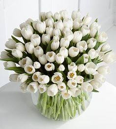 Tulips en masse make for a stylish and AFFORDABLE winter/spring floral choice. For a more sophisticated look, go monochromatic.