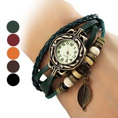 New Fabulous Women's Leaf Style Leather Band Quartz Analog Bracelet Watch ONSALE - $2.5 (save 50%) #ebay #ouku #watches #wristwatches