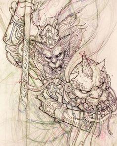 "4,406 lượt thích, 19 bình luận - David Hoang (@davidhoangtattoo) trên Instagram: ""Monkey king sketch. #monkeyking #sketch #illustration #drawing #irezumi #tattoo #asiantattoo…"""