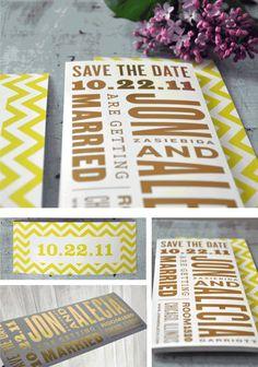 gold foil + chevron stripe save the dates - such a cool idea!