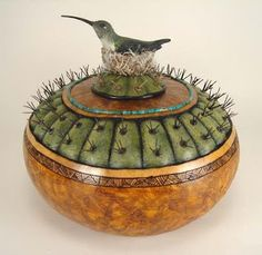 I Adore Hummingbirds, and this one on an antique Burl Box with a cacti lid...is Just Exquisite!