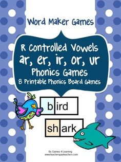 R Controlled Vowels Phonics Games from Games 4 Learning contains 10 printable ar, er, ir, or and ur Phonics Board Games. $
