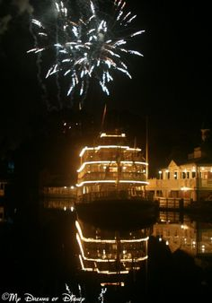 Liberty Square Riverboat - a nighttime shot with #Wishes overhead!