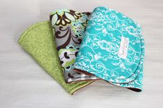 Set of 3 Blue Chocolate Gender Neutral Minky and Cotton Burp Cloths on Etsy, $27.00