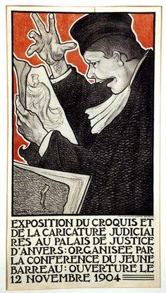EXPOSITION DU CROQUIS ET DE LA CARICATURE JUDICIAI Gisbert Combaz Exposition & Exhibition,1904