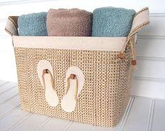 Coastal Flip Flop Design Fabric Storage Basket for your beach house