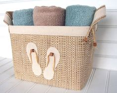 Coastal Flip Flop Design Fabric Storage Basket for your beach house