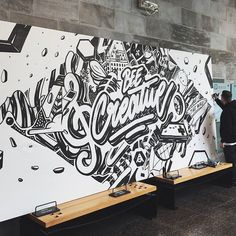 gangLove this type mural. Type by Graffiti Wall Art, Mural Wall Art, Mural Painting, Wall Art Designs, Design Art, Office Mural, Typography Art, Painted Signs, Doodle Art