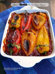 Spinach Ricotta Stuffed Peppers ~ Sumptuous Spoonfuls #healthy #cheese #stuffed #peppers #recipe