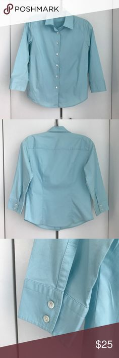 J. Crew Button Down Shirt. J. Crew Button Down Shirt. Light Blue. 3/4 Sleeves. Darts at bust for added shape. Size: Medium. 97% Cotton, 3% Spandex. Machine Wash Cold. Tumble Dry Low. J. Crew Tops Button Down Shirts