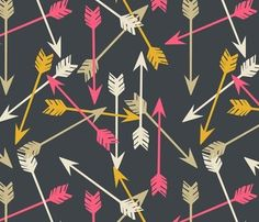 Arrows Scattered Wallpaper - contemporary - wallpaper - Spoonflower- pink bathroom
