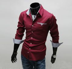 osell wholesale dropship Fashion Cotton Blend Single Breasted Lapel Long Sleeve Slim Men Casual Shirt $6.70