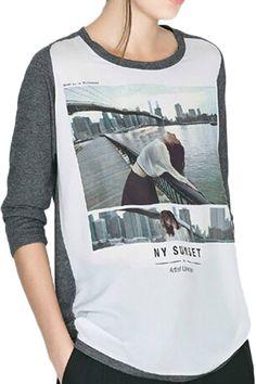 05bc82f48d4c ROMWE Brooklyn Bridge Print Color Block T-shirt 15.87 Latest Street  Fashion, Brooklyn Bridge