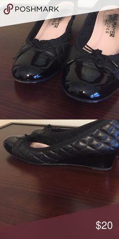 Paul Mayer quilted wedges Paul Mayer quilted wedges. Patent cap toe. Size 10 paul Mayer Shoes Wedges