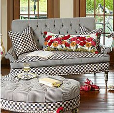 Buy Country decor for the Elegant Home you love! Home portfolio of MacKenzie-Childs Loveseats ideas! Buy Furniture You Love! Funky Furniture, Painted Furniture, Mackenzie Childs Furniture, Mackenzie Childs Inspired, Mckenzie And Childs, Upholstered Furniture, Home Furnishings, Living Room Decor, Love Seat