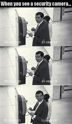 Funny pictures about Every time you see a security camera. Oh, and cool pics about Every time you see a security camera. Also, Every time you see a security camera. Really Funny, Funny Cute, The Funny, Funny Jokes, Hilarious, Funny Minion, Funny Pictures With Captions, Funny Images, Funny Pics