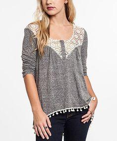 Gray & Cream Deco-Lace Tunic