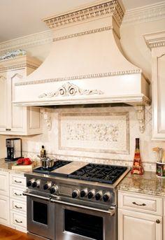 Shape but I don't like moldings Kitchen Hoods, New Kitchen Cabinets, Kitchen Redo, Kitchen Backsplash, Kitchen And Bath, Kitchen Remodel, Backsplash Ideas, Kitchen Ideas, Foyer Design