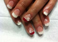 Nail art Sposa con french rosse