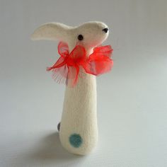 Small Spotted Hare needle felted figure by Gretelparker on Etsy, $73.00