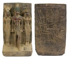 """Carved limestone statue of Osiris, the God of vegetation and regeneration, with Isis, mother of all gods and nature, and an Egyptian Goddess, standing on a base with hieroglyphics. Traces of red, green, black and yellow. Hieroglyphics and Egyptian symbols including Amun, the Egyptian sky God who came to be regarded as a sun God and the head of the Egyptian pantheon, seated on a throne, on the back. 26th Dynasty. 663-525 BC (6"""" x 3 1/2"""" X 2 1/4"""")."""