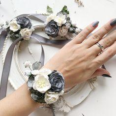 Wrist Corsage Wedding, Bridesmaid Corsage, Grey Bridesmaids, Iris Wedding Flowers, Grey Flowers, White Corsage, Rose Corsage, Corsages, Ivory Wedding Decor
