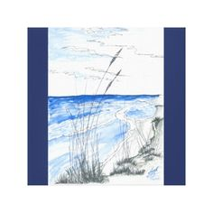 """""""Marsh Inlet"""" Beach Scene Watercolor With Grasses #ArtsyCrafteryStudio, available on gloss canvas and other options, by self-taught artist, beach grasses in foreground, ocean, sky and beach in background; colors of light blue, medium blue, navy blue, gray. Inspiration: photo."""