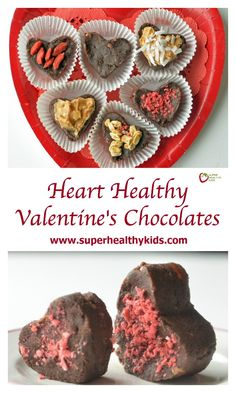 Heart Healthy Valentines Chocolates. These are also fun to make and decorate as a family! http://www.superhealthykids.com/heart-healthy-valentines-chocolates/