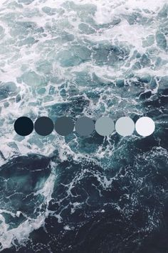 Exhibiting a natural spectrum of color found within one entity, this photograph of ocean water shows the hue of blueish-gray and its various intensities/luminance.