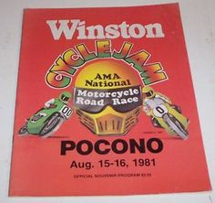 Motorcycle Winston Cycle Pocono Racing Vintage Program 1981 AMA Cyclejam Race | eBay
