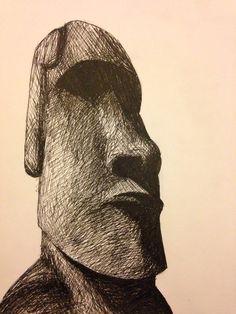 Easter Island stone head drawing