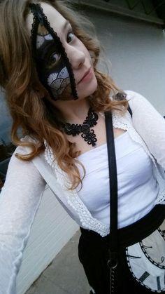 Feather Punk clockwork costume and zipper makeup unzipped.