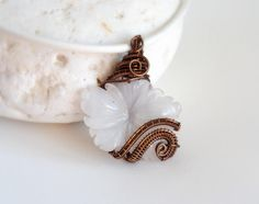 White flower pendant Wire wrapped gemstone White Jade One of a