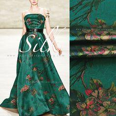 Emerald Green silk buy Printed satin