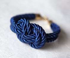 Navy blue Nautical Cord Sailor Knot Bracelet by Lanita