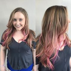 Balayage with a Kiss of Pink