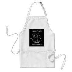 Sorry I'm Late Adult Apron - cat cats kitten kitty pet love pussy