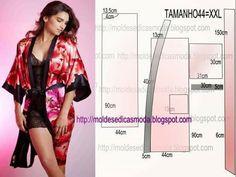 Bata de raso tipo kimono