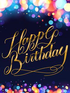 Colorful Glow Happy Birthday Card