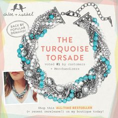 """The Turquoise Torsade is back! Wow, wouldn""""t it be a great accent for the holidays!"""