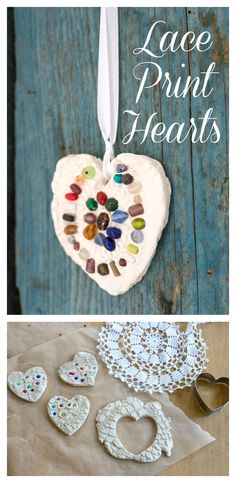 DIY lace hearts to use as ornaments or magnets. These clay hearts are printed with doilies for a beautiful lace texture effect. Fun for kids or adults.