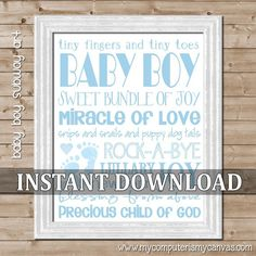 Baby Boy Subway Art - Printable INSTANT DOWNLOAD