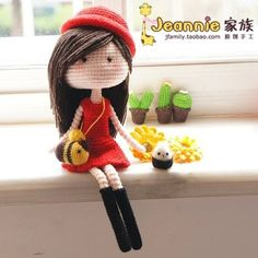 Cute crocheted doll. No pattern but I found a pattern for the basic doll that will work. Added link to pin.