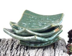 Handmade Ceramic Tableware Green Condiment Nesting Dishes - Set of Four Trinket Dish Candle Holder - pinned by pin4etsy.com Available in my ETsy & MadeIt shops #etsy #handmade #ceramics #pottery #homedecor #shopmadeit #madeit